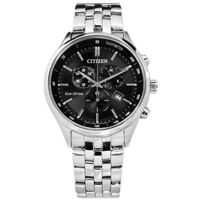 CITIZEN 光動能藍寶石水晶計時日本製造防水不鏽鋼手錶-黑色/42mm