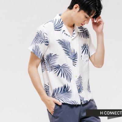 H:CONNECT 韓國品牌 男裝 -滿版椰子樹葉短袖襯衫 - 白