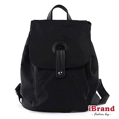 iBrand後背包 簡約時尚獨特設計尼龍翻蓋後背包-黑色