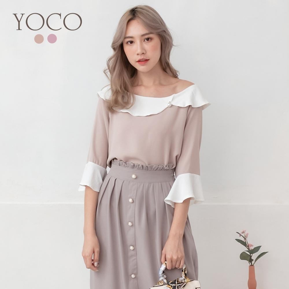 東京著衣-YOCO 法式甜美荷葉領珍珠釦喇叭袖上衣-S.M.L(共兩色)