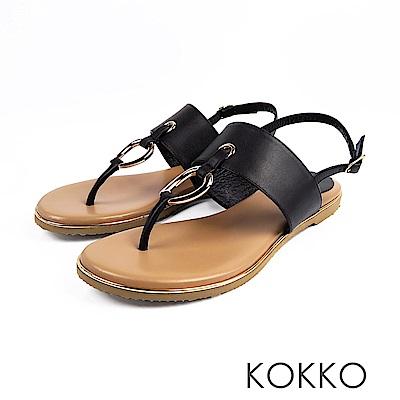 KOKKO -不羈靈魂金屬環軟墊平底夾腳涼鞋-神秘黑