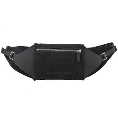 BALENCIAGA 帆布拼接款時尚腰包/胸口包(黑)