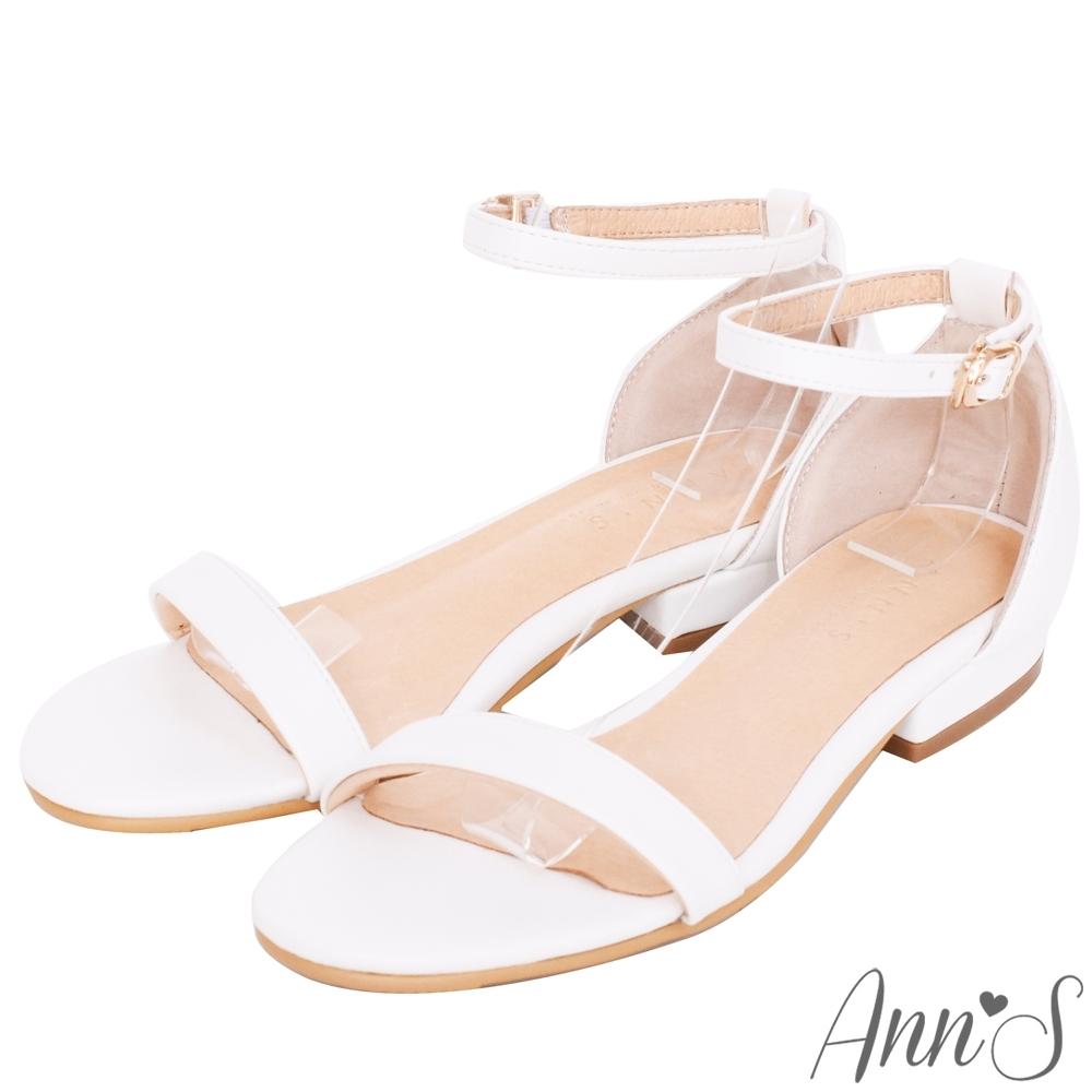 Ann'S不踩雷美腿製造機一字帶涼鞋-細帶2公分平底-白