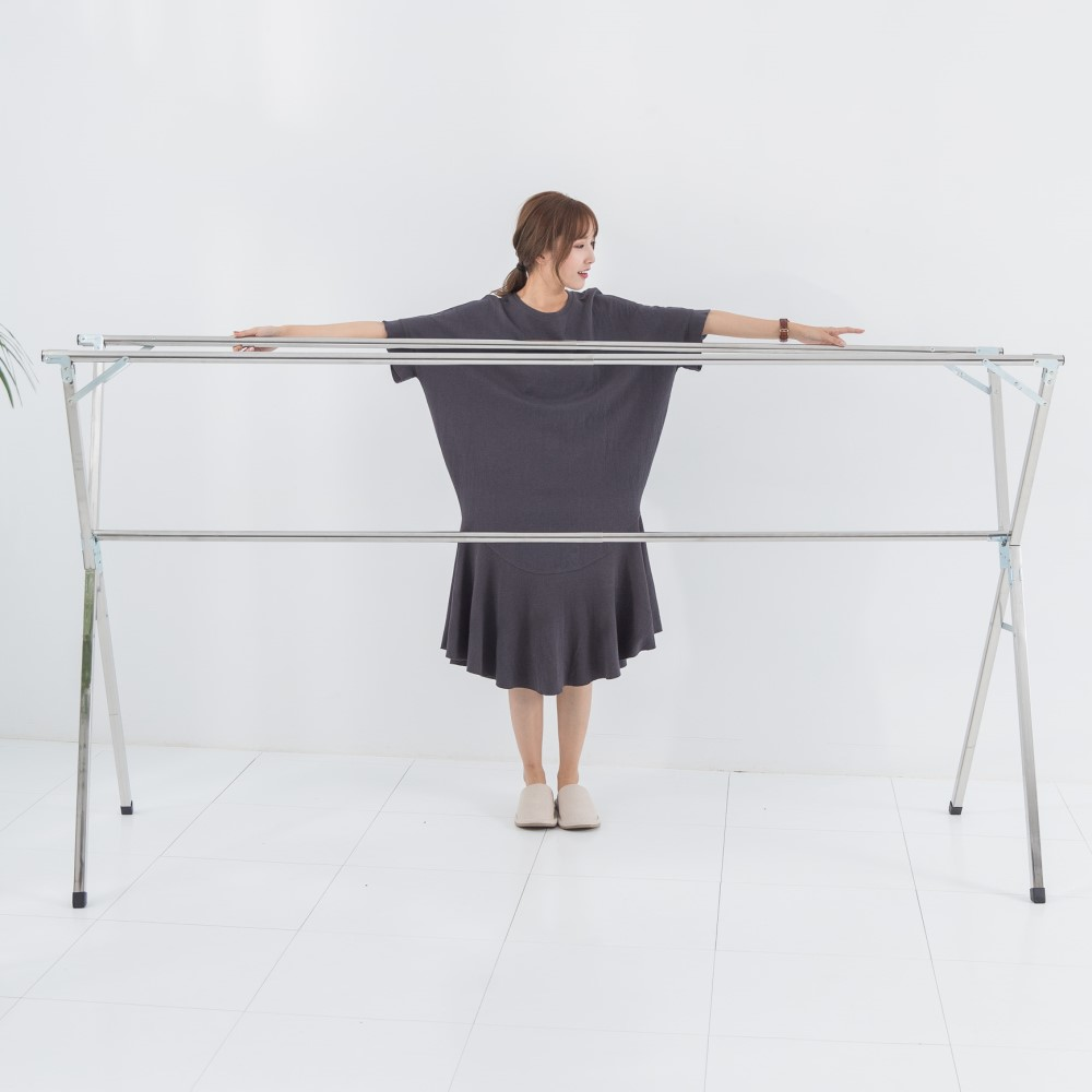 [限時下殺]IDEA X型全折疊加大2.4米不鏽鋼三桿伸縮棉被衣架