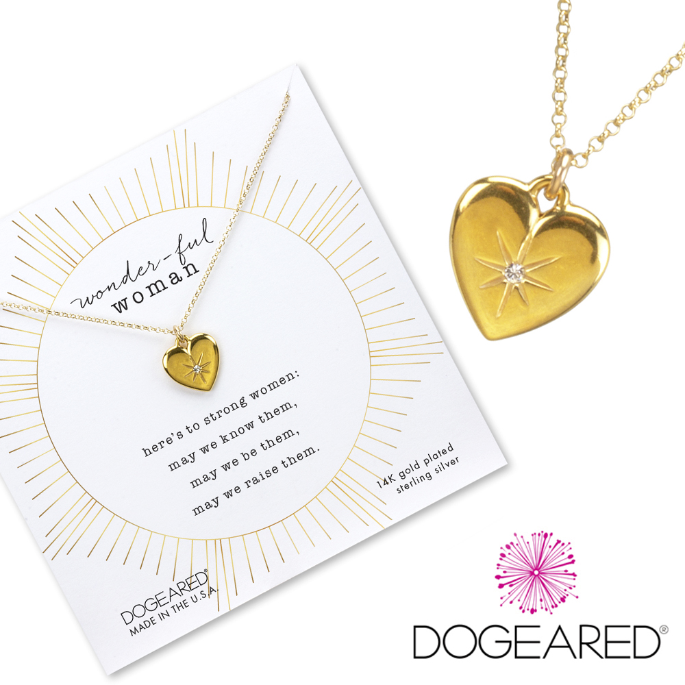 Dogeared Crystal Heart 鑲鑽光芒星星X立體金色愛心項鍊 美麗的力量