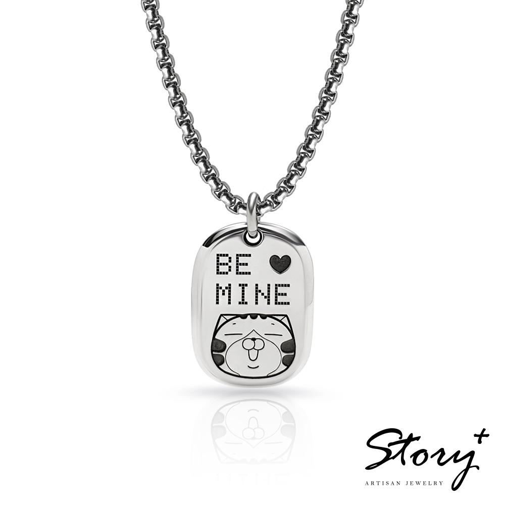 STORY故事銀飾-白爛貓與我系列-家族軍牌刻字 純銀項鍊(粗鍊款)