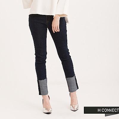 H:CONNECT 韓國品牌 女裝 - 破損反摺牛仔褲-藍(快)