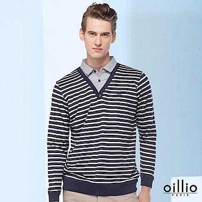 歐洲貴族oillio 長袖線衫 細膩線條 型男穿搭 藍色