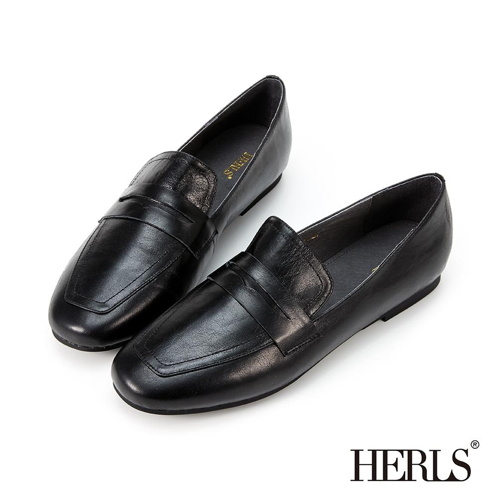 HERLS樂福鞋-光澤全真皮經典便仕樂福鞋-黑色