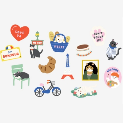 Dailylike 行李箱防水裝飾貼紙包-03巴黎優雅貓
