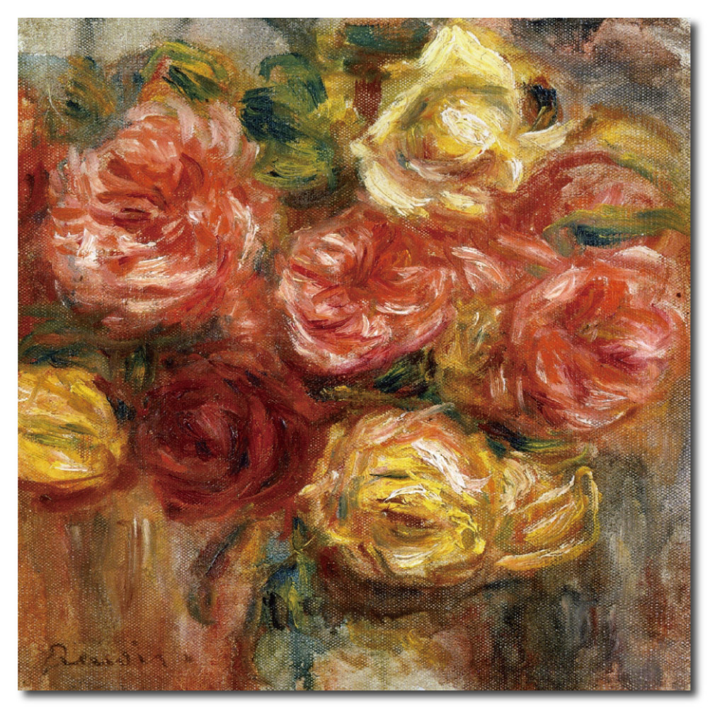 24mama掛畫-單聯式方型 掛畫大無框畫-紅黃玫瑰-60x60cm