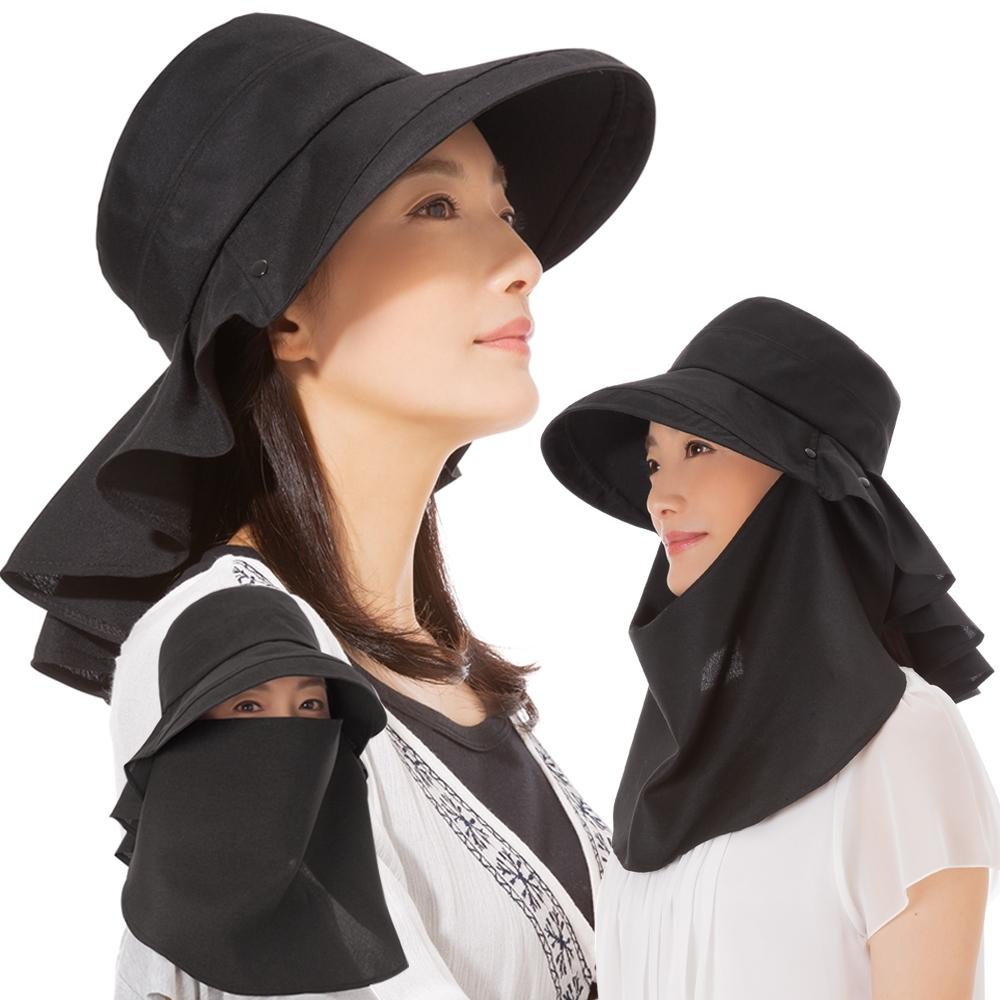 日本sunfamily 3用降溫涼感面罩式抗UV護頸寬緣帽 (黑色)