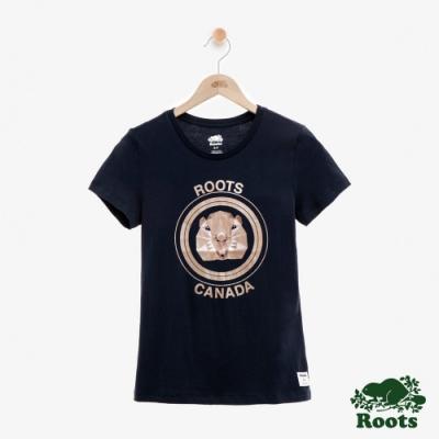 ROOTS女裝  金屬動物圖樣短袖T恤 -藍