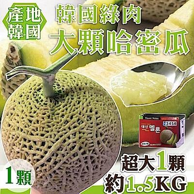 【天天果園】韓國大顆綠肉哈密瓜(每顆約1.5kg) x1顆