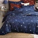 BUTTERFLY-台製40支紗純棉薄式加大雙人床包+雙人兩用被組-文青葉葉-藍
