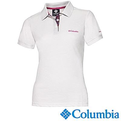 Columbia 哥倫比亞 女-防曬25快排短袖POLO衫白色UAR19710WT