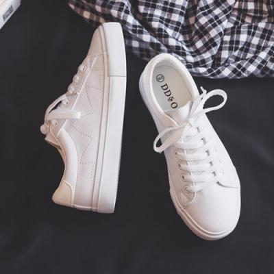 韓國KW美鞋館 時尚甜心活力首選素色小白鞋-白