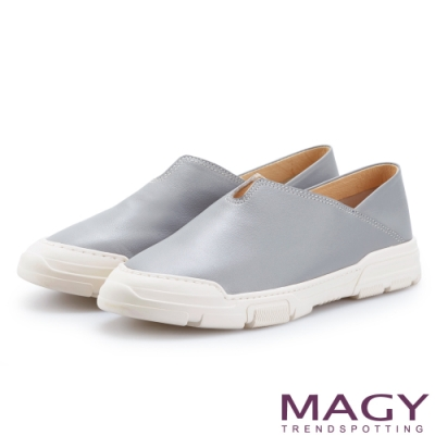 MAGY 舒適樂活 素面牛皮兩穿可踩腳厚底休閒鞋-淺藍