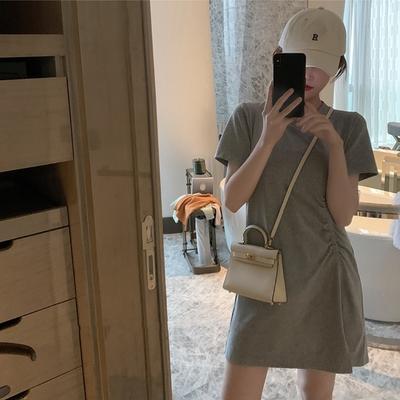 中大尺碼圓領素色側抓皺小開叉棉質連身短洋裝L~4L-Ballet Dolly