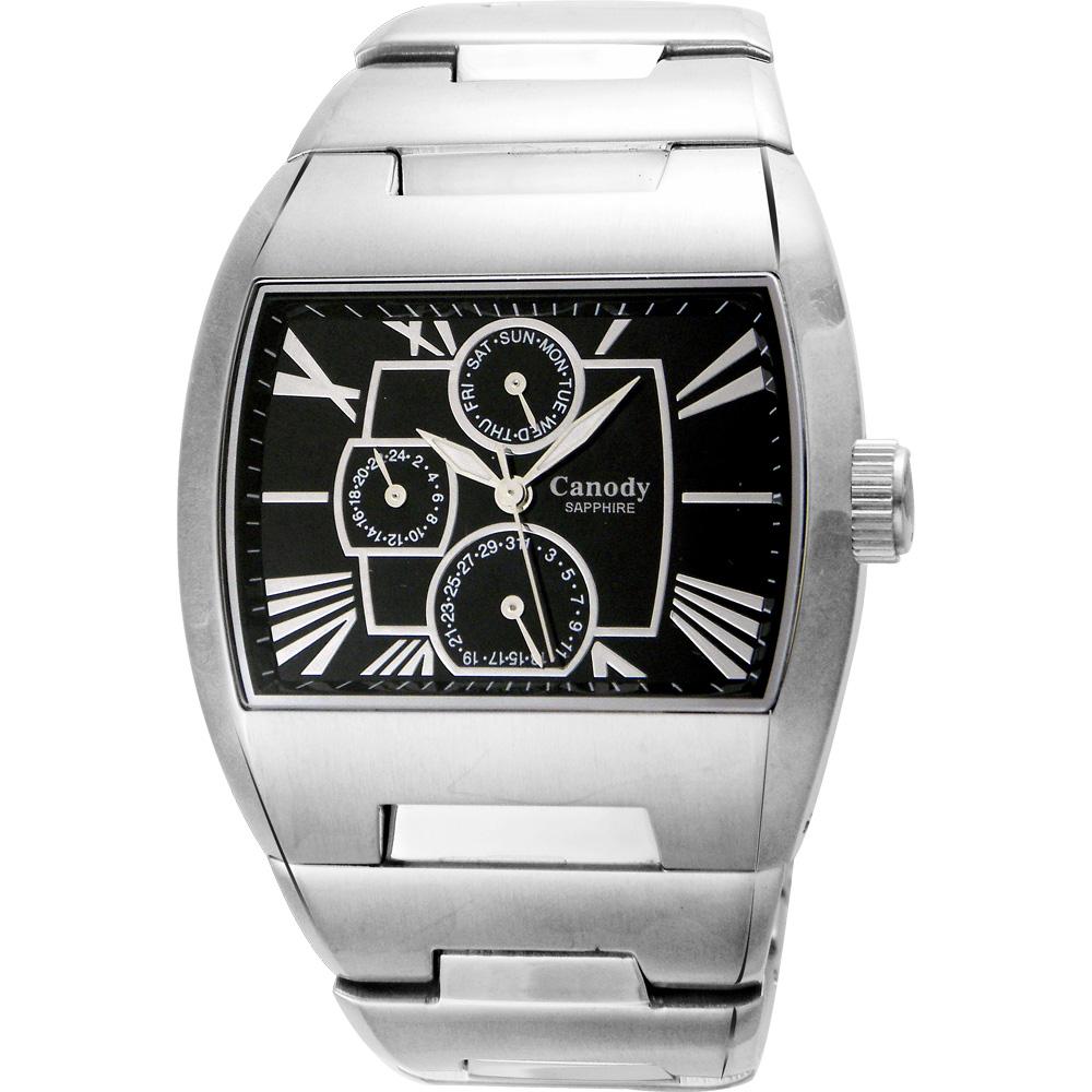 Canody 羅馬時尚三眼日期手錶(CM9806-A)-銀x黑/41mm @ Y!購物