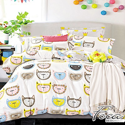 FOCA淘氣精靈-加大-100%精梳純棉四件式兩用被床包組