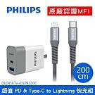 【Philips飛利浦】Type-C to Lightning手機線+PD雙孔充電器組2M