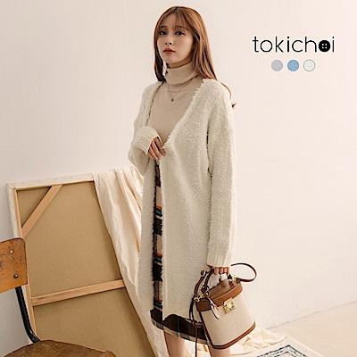 東京著衣 冬日甜心毛海側開岔多色開襟長版外套(共三色)