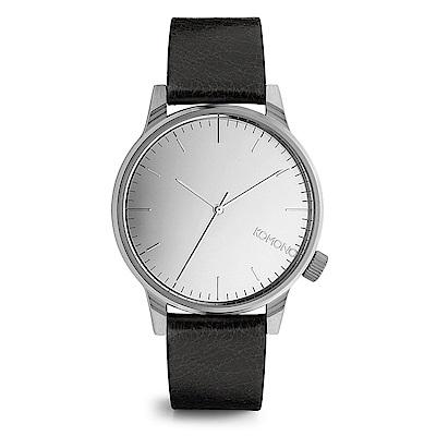 KOMONO Winston Mirror 腕錶-性格黑x太空銀/41mm