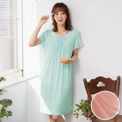 華歌爾睡衣-舒爽冰涼 M-LL 圓領短袖家居裙(粉)緹織涼感紗