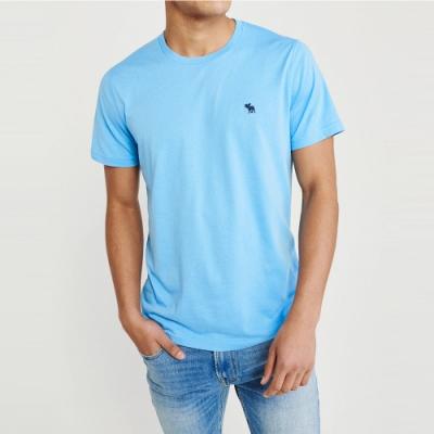 麋鹿 AF A&F 經典圓領電繡麋鹿素面純棉短袖T恤(BONL)-淺藍色