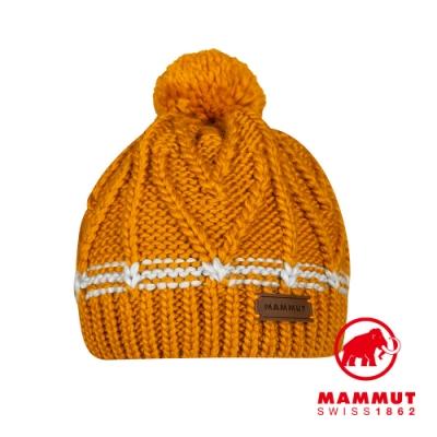 【Mammut 長毛象】Sally Beanie 保暖針織毛球羊毛帽 薑黃 #1191-00430