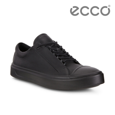 ECCO FLEXURE T-CAP M 輕彈皮革百搭休閒鞋 男-黑
