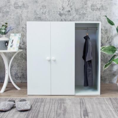 Birdie南亞塑鋼-防水二門一格組合式塑鋼衣櫃/雙吊桿塑鋼衣櫃/白色90x46.5x90