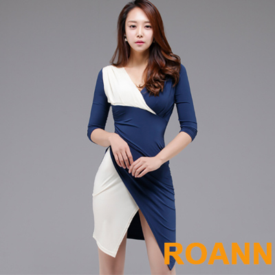 V領不規則藍白拼接七分袖短款洋裝 (藍色)-ROANN