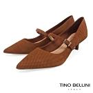 Tino Bellini巴西進口牛皮壓紋瑪莉珍低跟鞋_棕
