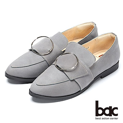 bac都會新秀-尖頭大圓皮帶扣環樂福平底鞋