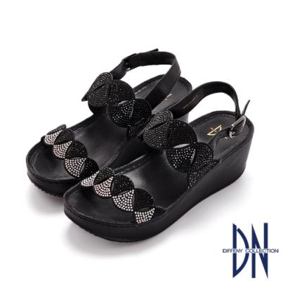 DN涼鞋_電雕造型水鑽點綴舒適楔型涼鞋-黑