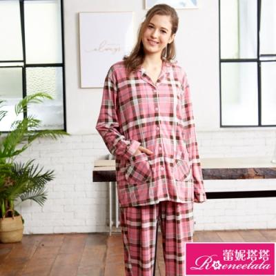 睡衣 針織棉女性長袖褲裝睡衣(R87211-2格紋小熊) 蕾妮塔塔