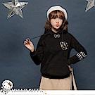 台灣製造~太空KITTY刺繡厚刷毛連帽衛衣上衣-OB大尺碼