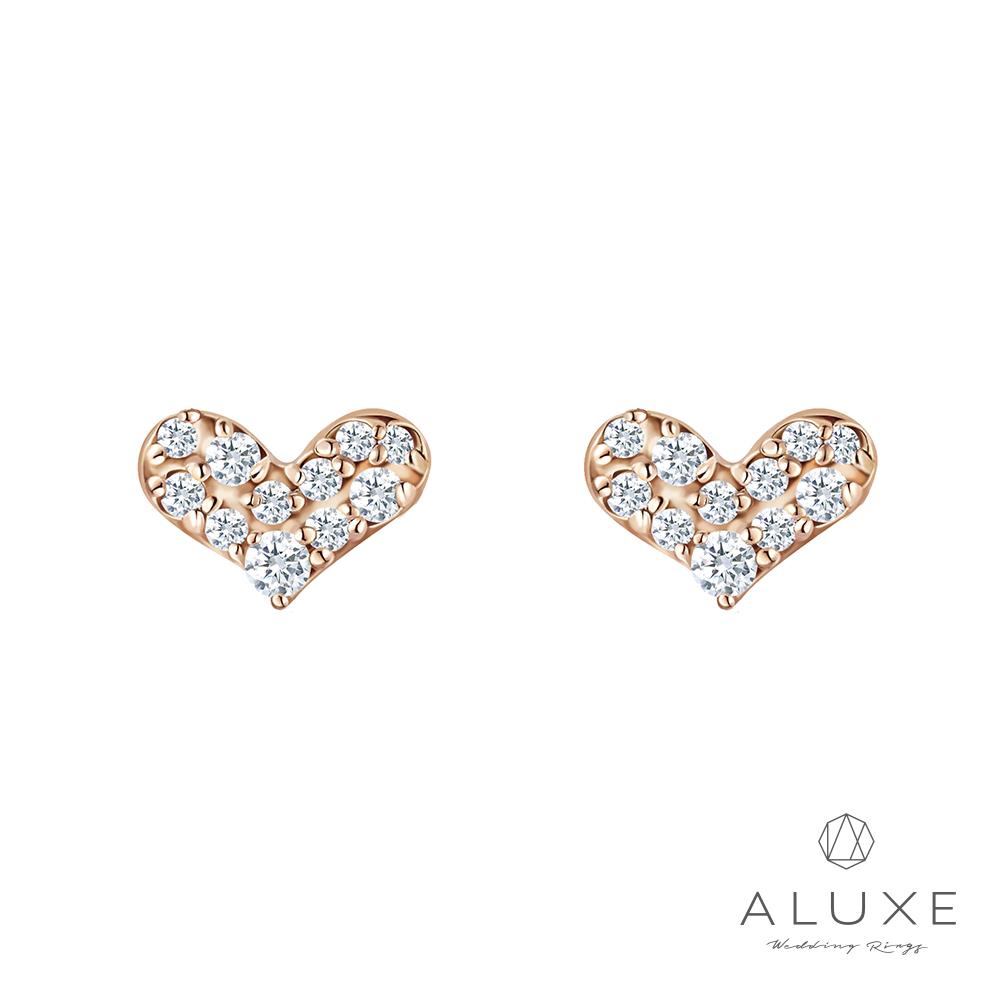 A-LUXE 亞立詩 Shine系列 10K金 愛心鑽石耳環