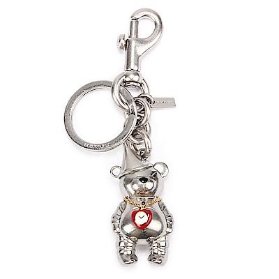 COACH 可愛3D立體 TIN MAN BEAR 熊熊金屬鑰匙圈-銀色
