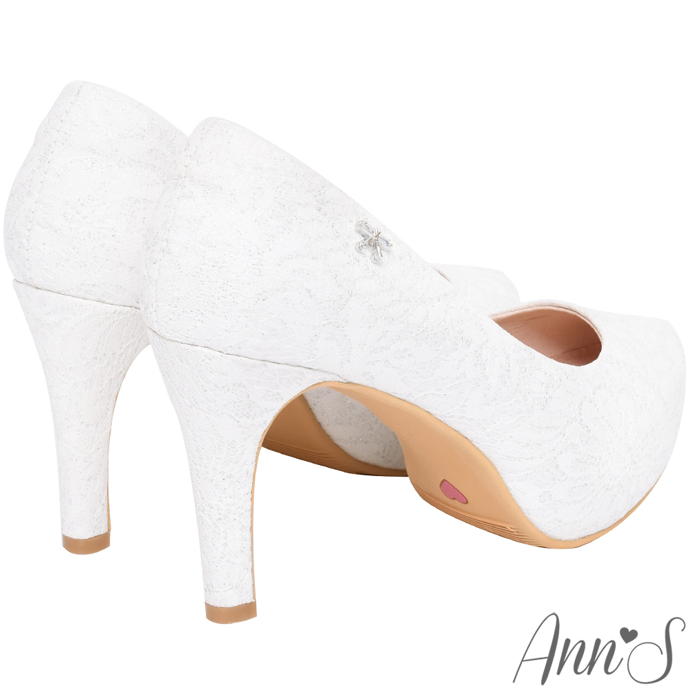 Ann'S愛情故事-小鑽蝴蝶結防水台蕾絲高跟婚鞋-白(版型偏大)