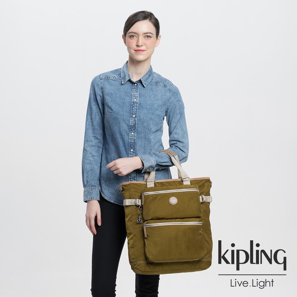 Kipling 低調皮革沉穩個性棕褐色大容量機能斜背包包-LASLO