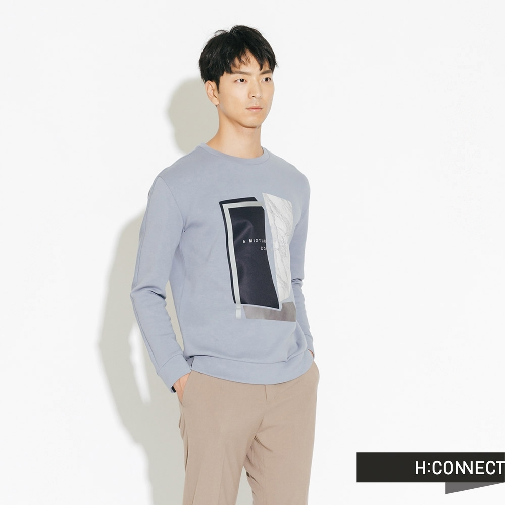 H:CONNECT 韓國品牌 男裝-幾何印花上衣-藍