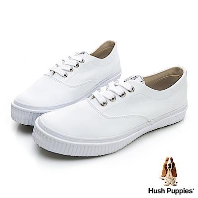 Hush Puppies  經典中性皮質咖啡紗休閒鞋-白色