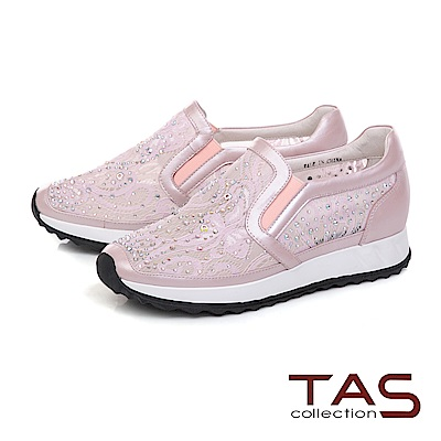 TAS 水鑽透膚網布內增高休閒鞋-甜美粉