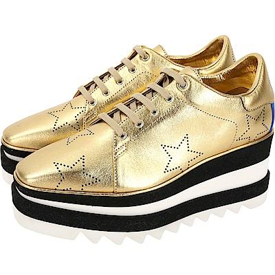 Stella McCartney Wedges 星星打洞皮革厚底紳士鞋(金色)
