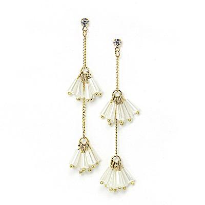 LOVER S TEMPO加拿大品牌 水晶珠流蘇鑲嵌鋯石 垂墜耳環