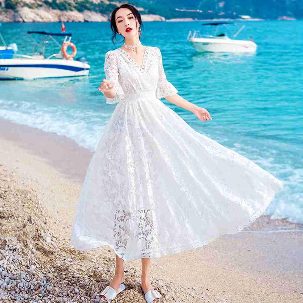 夏日浪漫白色V領荷葉袖洋裝M-L-維拉森林