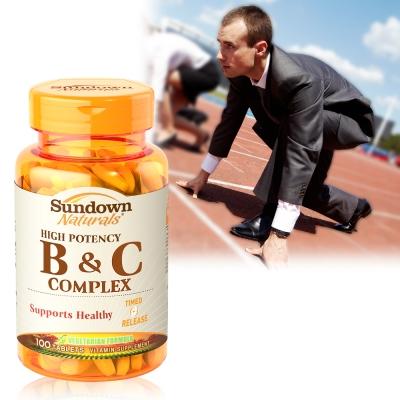 (時時樂)Sundown日落恩賜 高單位緩釋型B群+C(B12強化配方)(100錠/瓶)